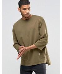 Religion - Sweatshirt mit 3/4-Ärmeln und Rundhalsausschnitt sowie tiefer Schulter - Grün