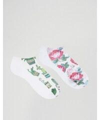 7X - Lot de 2 paires de chaussettes motif cactus et fleuri - Multi