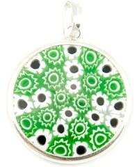 Murano Přívěsek skleněný - stříbro 925 - zelená - Millefiori 23