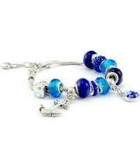 Murano Náramek z vinutých perel Dora - tmavě modrý