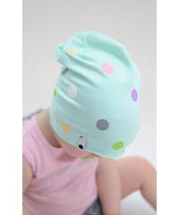 Lamama Dětská čepice puntíkovaná - světle zelená