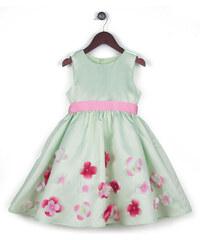 Joe and Ella Fashion Dívčí šaty Layla s květinami - světle zelené