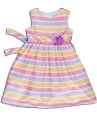 Joe and Ella Fashion Dívčí šaty Brielle pruhované - růžovo-žluté