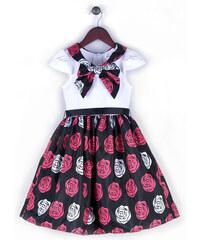 Joe and Ella Fashion Dívčí šaty Penelope s růžičkami - černo-červeno-bílé