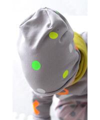 Lamama Dětská čepice puntíkovaná - šedá