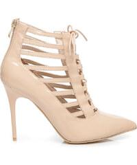 VICES Luxusní béžové kotníčkové boty se šněrováním a zipem