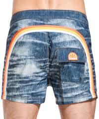SUNDEK fixed waistband mid-length swim shorts