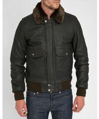 SCHOTT NYC Braune Flight Jacket aus Leder mit abnehmbarem Fellkragen