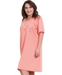 Vienetta Secret Bavlněná noční košile pro plnoštihlé Athena meruňková - lososová XL