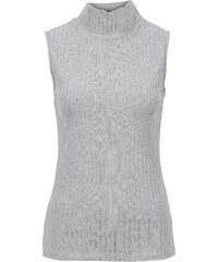 BODYFLIRT Top col roulé en matière côtelée gris femme - bonprix
