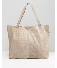 ASOS - Shopper-Tasche aus Wildleder mit Prägung - Rosa