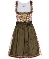 Distler Damen Blumen-Dirndl, oliv-pink, 60 cm Rocklänge 60 cm grün aus Baumwolle