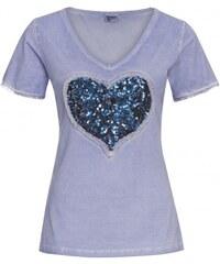 Distler Damen T-Shirt figurnah blau aus Baumwolle
