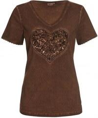 Distler Damen T-Shirt figurnah braun aus Baumwolle