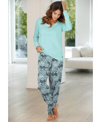 Große Größen: Buffalo Pyjama mit gemusterter Hose & passendem Langarmshirt, mint gemustert, Gr.32/34-56/58