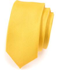 Avantgard Žlutá SLIM matná kravata_