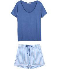 Lesara Kurzer Schlafanzug mit gestreiften Shorts - Blau - S
