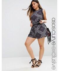 ASOS CURVE - Shorts mit Bandana-Print und gezurrter Taille, Kombiteil - Mehrfarbig