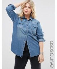 ASOS CURVE - Chemise en jean coupe boyfriend - Délavé bleu moyen - Bleu