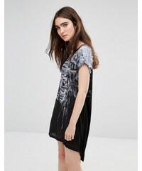 Religion - Robe t-shirt à imprimé cage thoracique - Noir