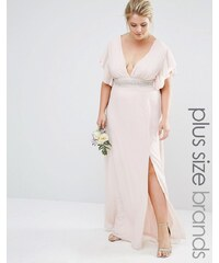TFNC Plus Wedding - Robe longue à manches évasées et taille ornementée - Rose