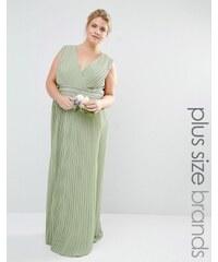 TFNC Plus Wedding - Robe longue drapée et plissée avec ornements - Vert