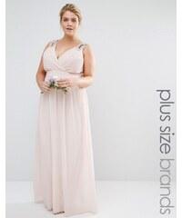 TFNC Plus WEDDING - Robe longue cache-cœur ornementée - Rose