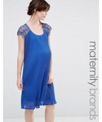 Mama.licious Mamalicious - Schwingendes Kleid mit Spitze - Blau