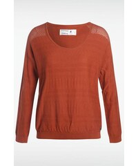 Pull femme fines rayures discrètes Orange Coton - Femme Taille L - Bonobo