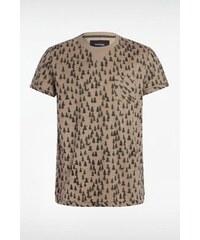 Tee-shirt homme manches courtes imprimé Beige Coton - Homme Taille L - Bonobo