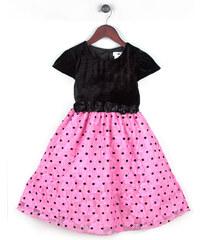 Joe and Ella Fashion Dívčí šaty Roxanne puntíkované - černo-růžové