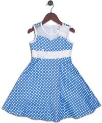 Joe and Ella Fashion Dívčí šaty Felix puntíkované - modro-bílé