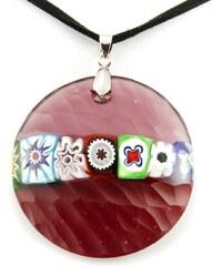 Murano Náhrdelník skleněný šperk - červená - Battuti
