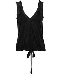 RAINBOW Top à nouer noir manches courtes femme - bonprix