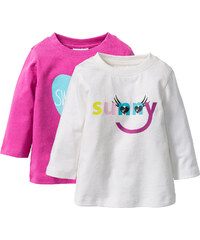 bpc bonprix collection Lot de 2 T-shirts bébé à manches longues en coton bio, T. 56/62-104/110 blanc enfant - bonprix