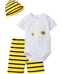 bpc bonprix collection Baby Body + Shorts + Mützchen (3-tlg. Set) Bio-Baumwolle kurzer Arm in weiß von bonprix