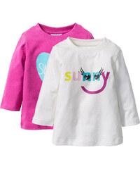 bpc bonprix collection Baby Langarmshirt (2er-Pack) Bio-Baumwolle, Gr. 56/62-104/110 in weiß für Damen von bonprix