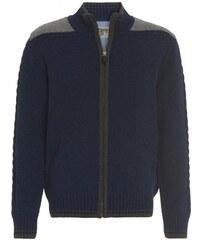 Distler Herren Strickjacke Cardigan blau mit Wolle