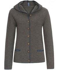 Distler Damen Strickjacke Cardigan grau mit Wolle
