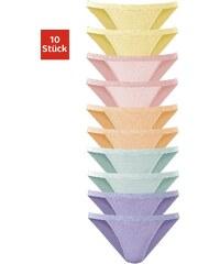 Große Größen: GO IN Basic- Tangas (10 Stück) im Sparpack, Je 2 x uni lila + gelb + grün + orange + rosa, Gr.32/34-48/50