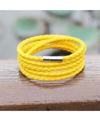 Lodestar Kožený pletený náramek žlutý