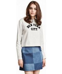 H&M Kostkovaná džínová sukně