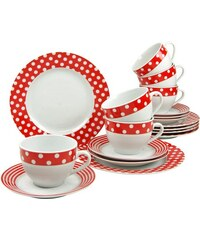Kaffeeservice Porzellan 18 Teile Punkte CreaTable rot