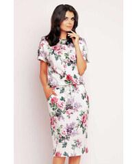 Awama Smetanové květované šaty A145
