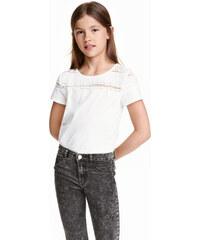 H&M Žerzejové tričko s krajkou