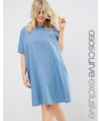ASOS CURVE - Weites T-Shirt-Kleid aus Denim - Blau