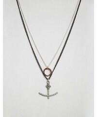 Icon Brand - Lot de collier avec pendentifs anneau et ancre - Doré