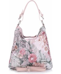 9462851405 VITTORIA GOTTI Made in Italy Kožená kabelka vzor v květech multicolor růžová