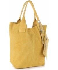 Genuine Leather Kožené kabelky Shopperbag přírodní semiš Žlutá