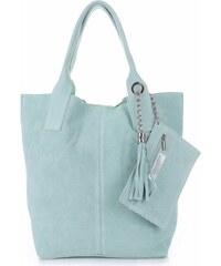 Genuine Leather Kožené kabelky Shopperbag přírodní semiš mátová